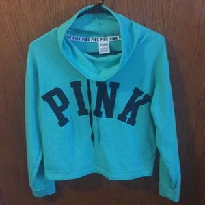 Cowl neck crop sweatshirt